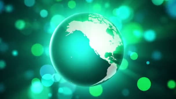 groene globe en verlichting — Stockvideo © bonagilisi #183764004