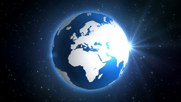 sunburst behind blue graphic earth