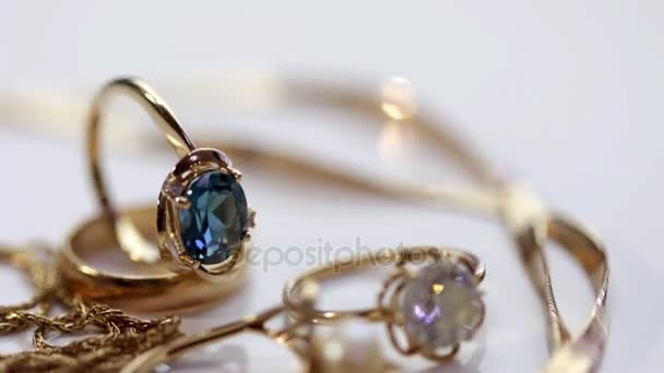 Gold earrings and rings from different sets