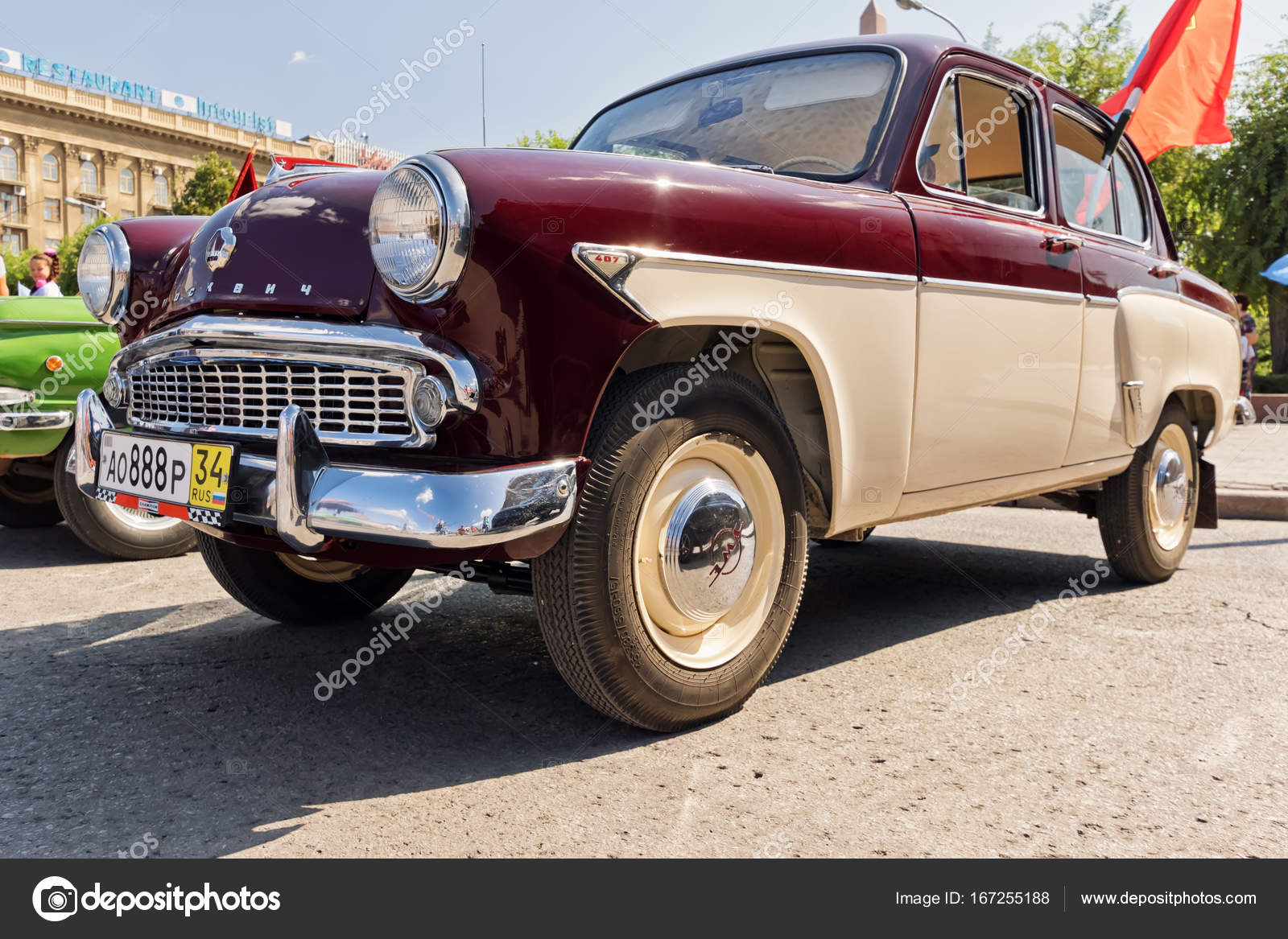 Old restored car model Moskvitch 407 at the exhibition of vintag ...