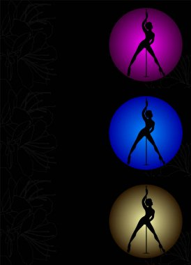 Flyer with silhouette women pole dance exotic