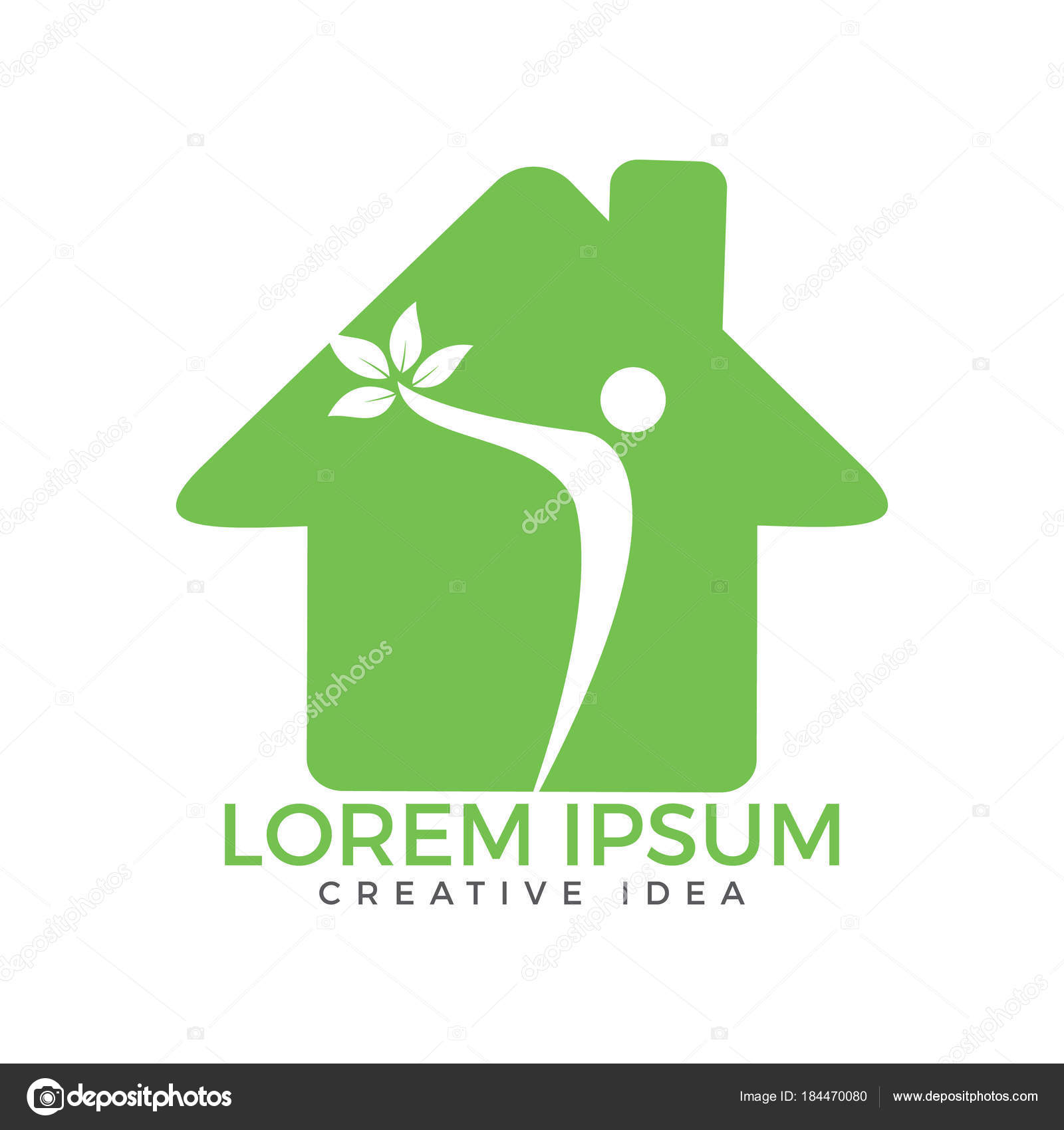 Genial Human Character Home Logo Design Health Center Home Care Real U2014 Stock Vector