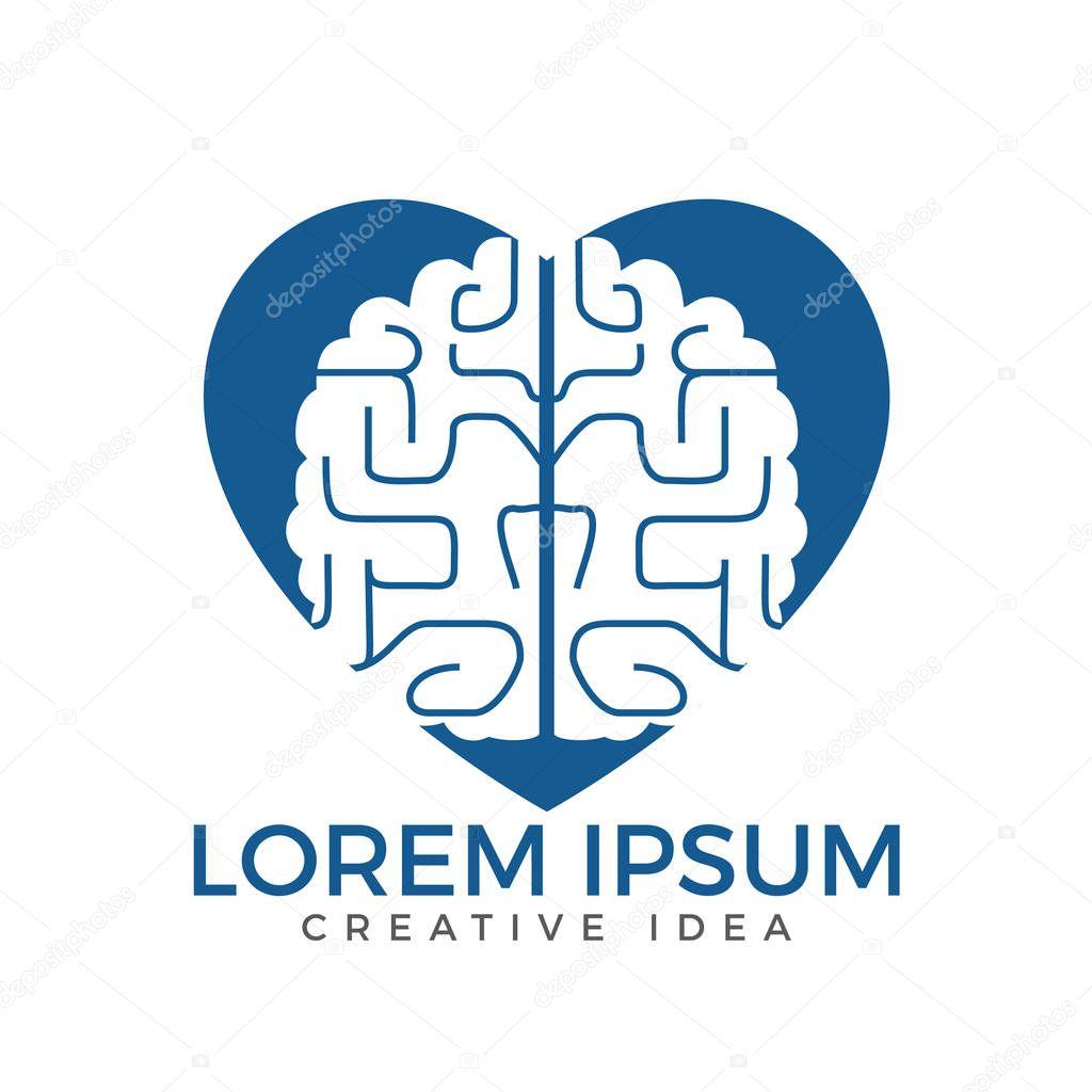Creative brain heart shape logo design. Think idea concept.Brainstorm power thinking brain Logotype icon.