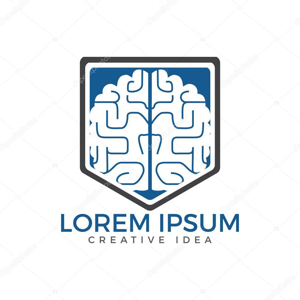 Creative brain shield logo design. Think idea concept.Brainstorm power thinking brain Logotype icon.