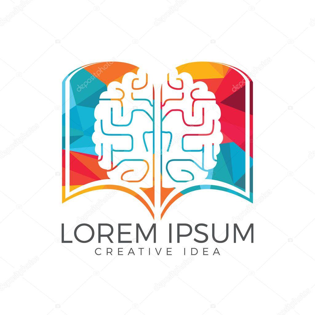 Book brain logo design. Educational and institutional logo design.