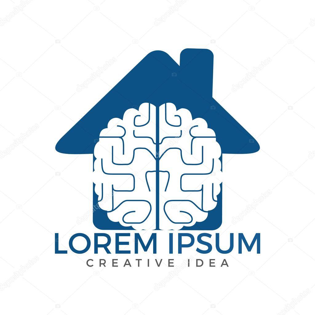 Brain and house icon logo design.