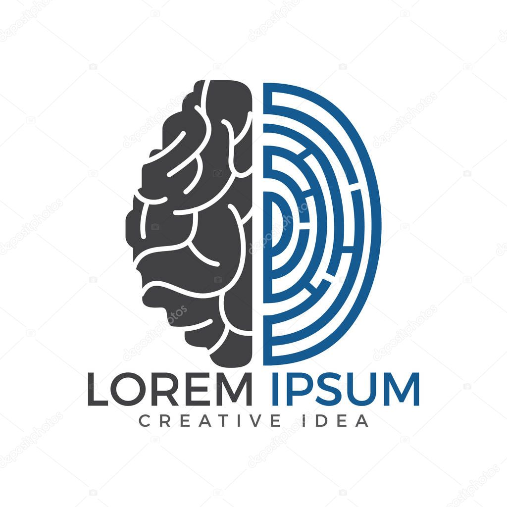 Vector logo icon with brain and fingerprint.