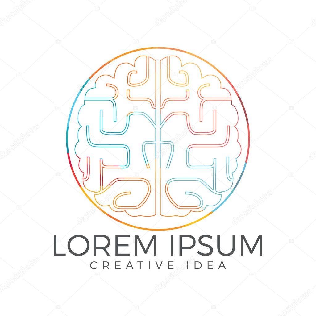 Creative brain logo design. Think idea concept.Brainstorm power thinking brain Logotype icon.