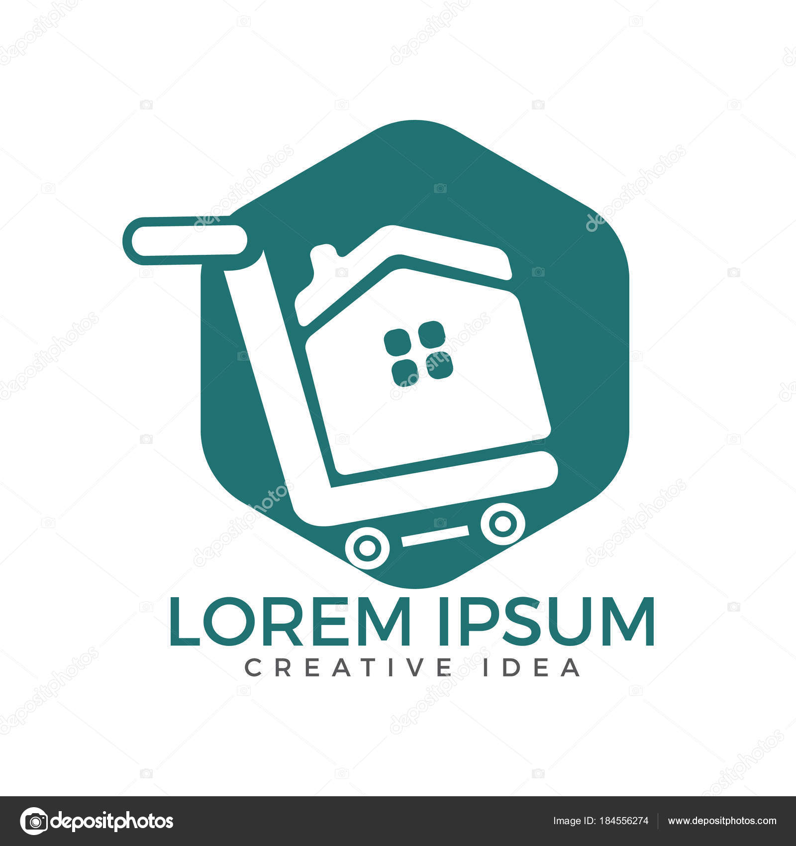 Shopping Cart House Vector Logo Design Shop Home Logotype Home ...