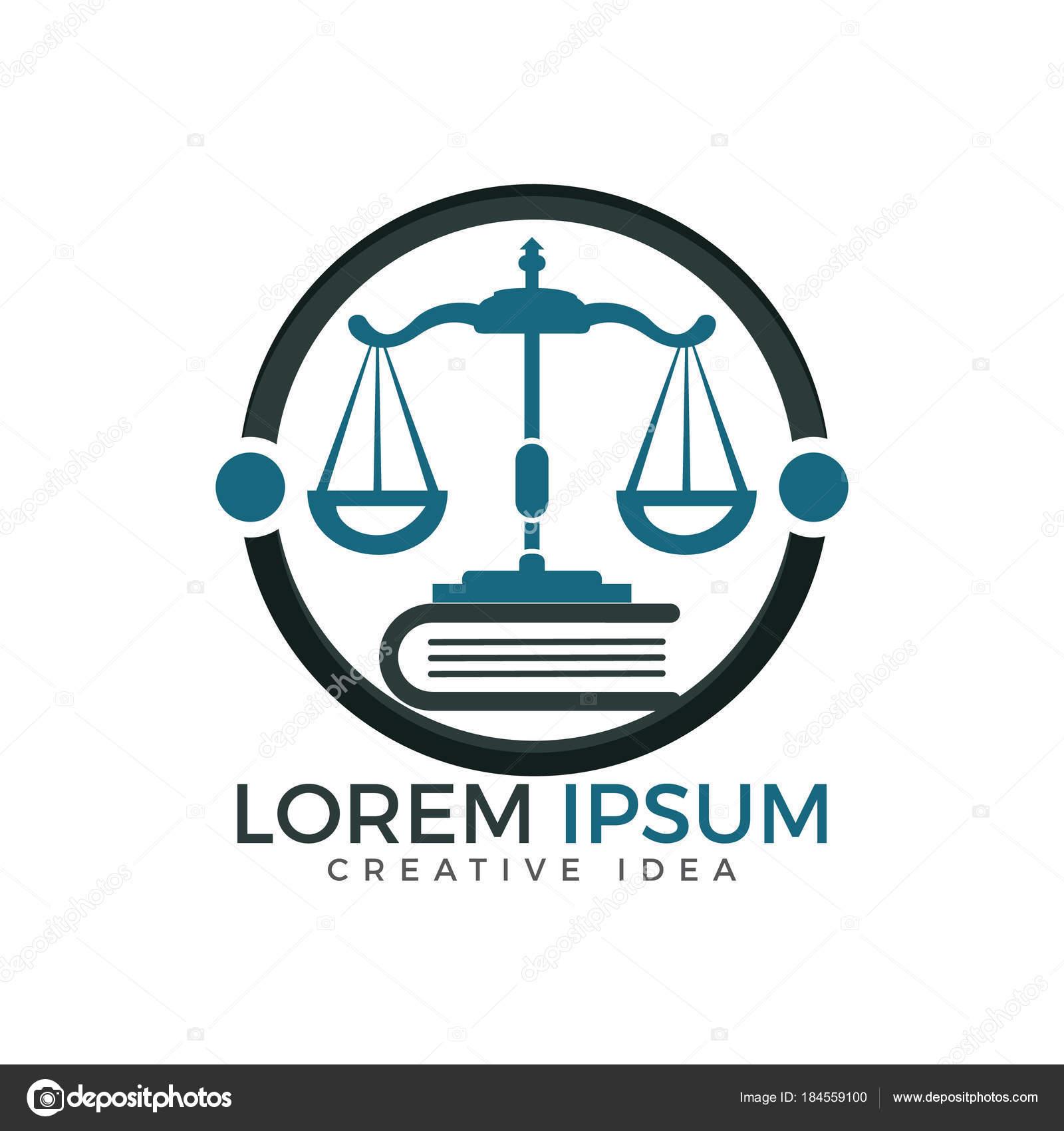 Scales Justice Book Logo Design Symbol Law Justice Stock Vector