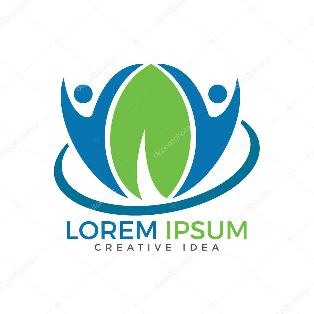Happy human health and medical logo. Human character health care and wellness logo design