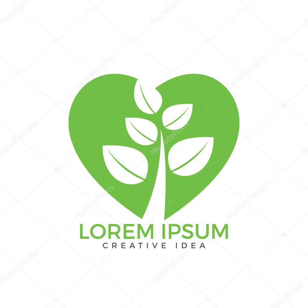 Tree heart logo design. Health and care logo design.