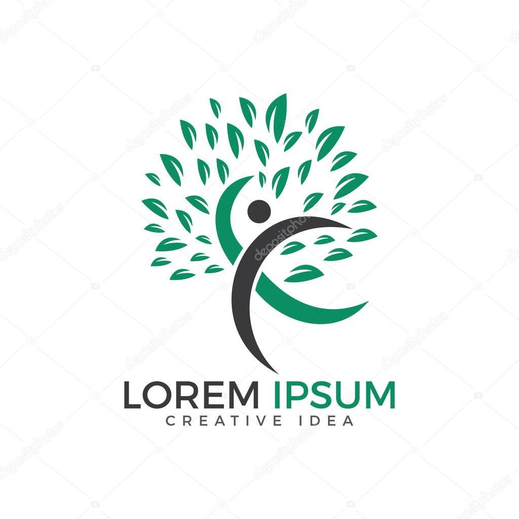Human tree health and medical logo design.  Natural care logo design.