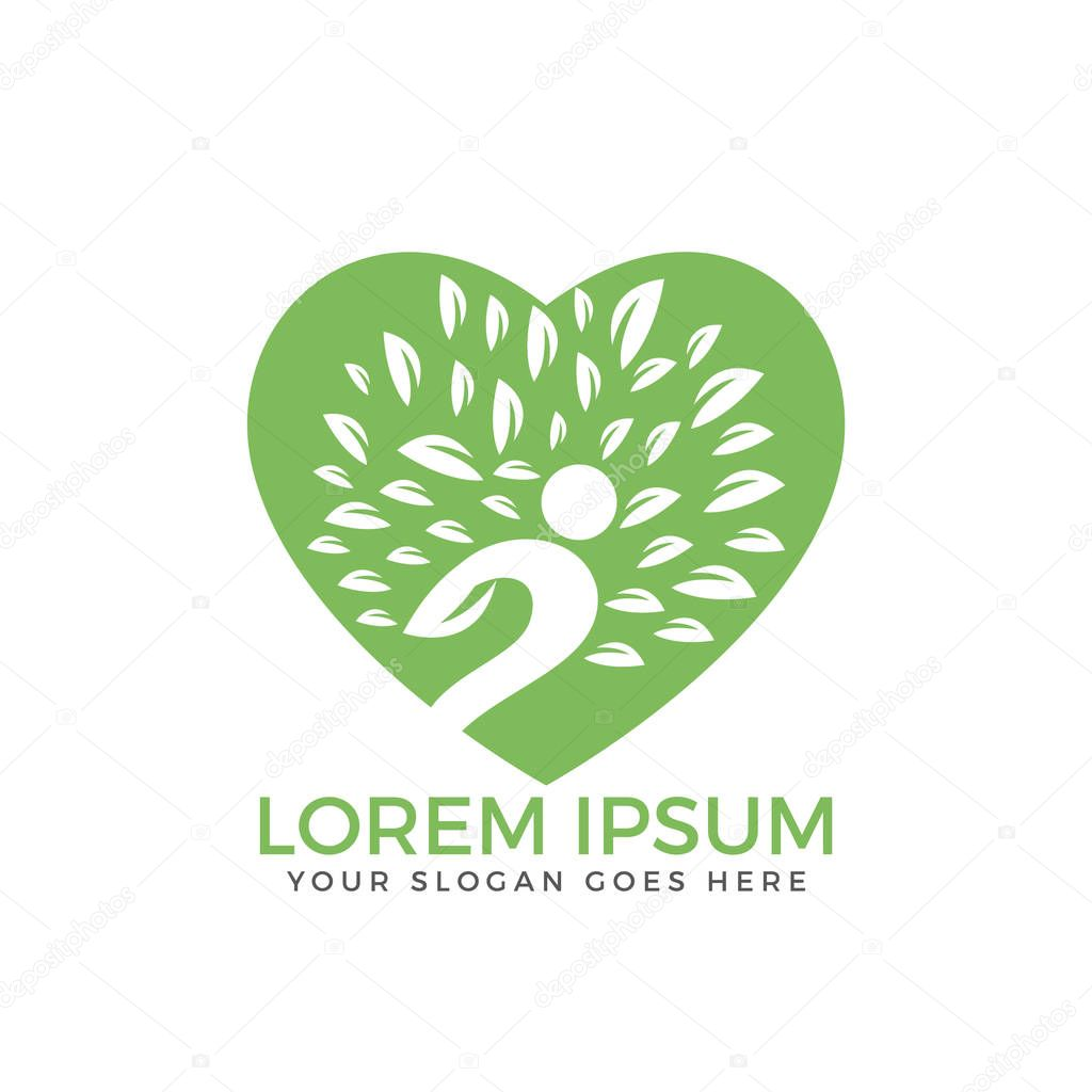 Human character and heart vector logo. People and Fitness logo.
