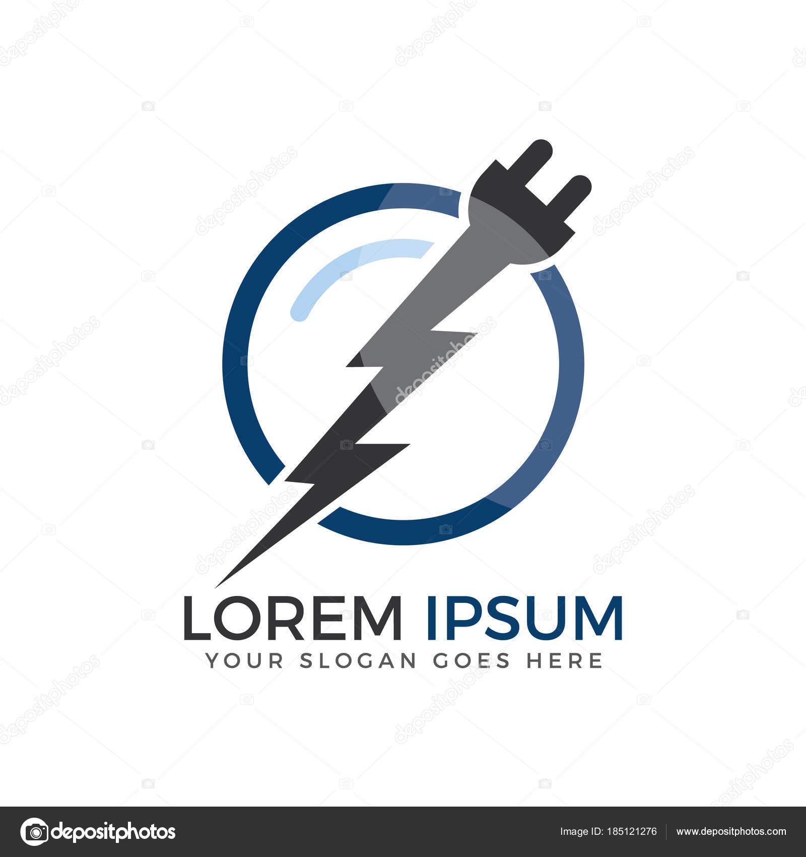 Electrical Plug Thunderbolt Vector Logo Design Power Energy Symbol ...