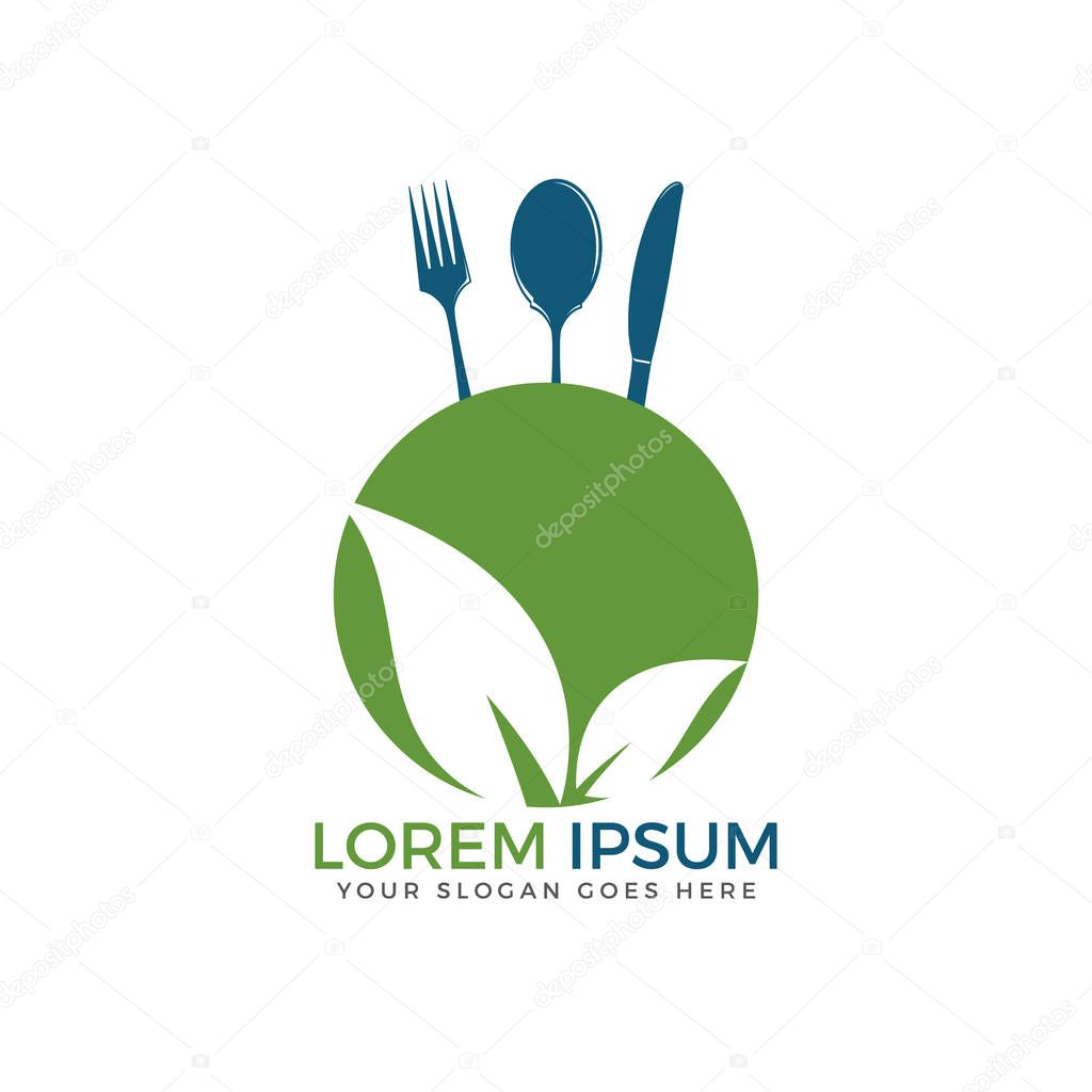Modern vector healthy fresh food logo design. Vegetarian food symbol. Leaves with knife and fork in negative space.