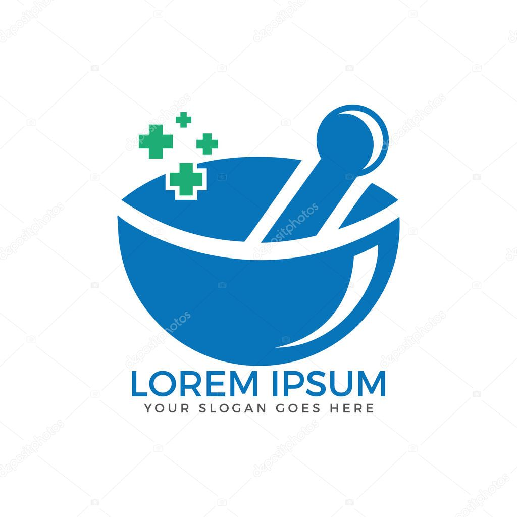 Pharmacy medical logo. Natural mortar and pestle logotype.