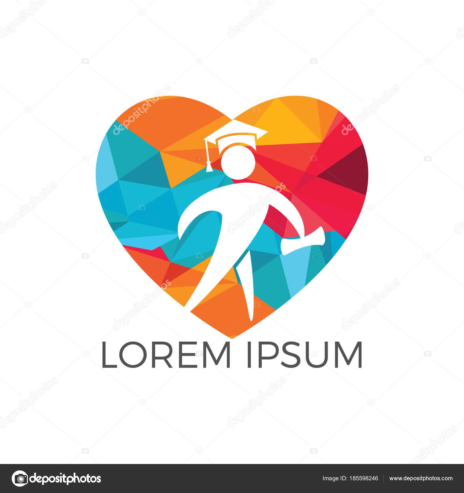 Diseño Logotipo Forma Corazón Estudiante Plantilla Diseño Vector ...