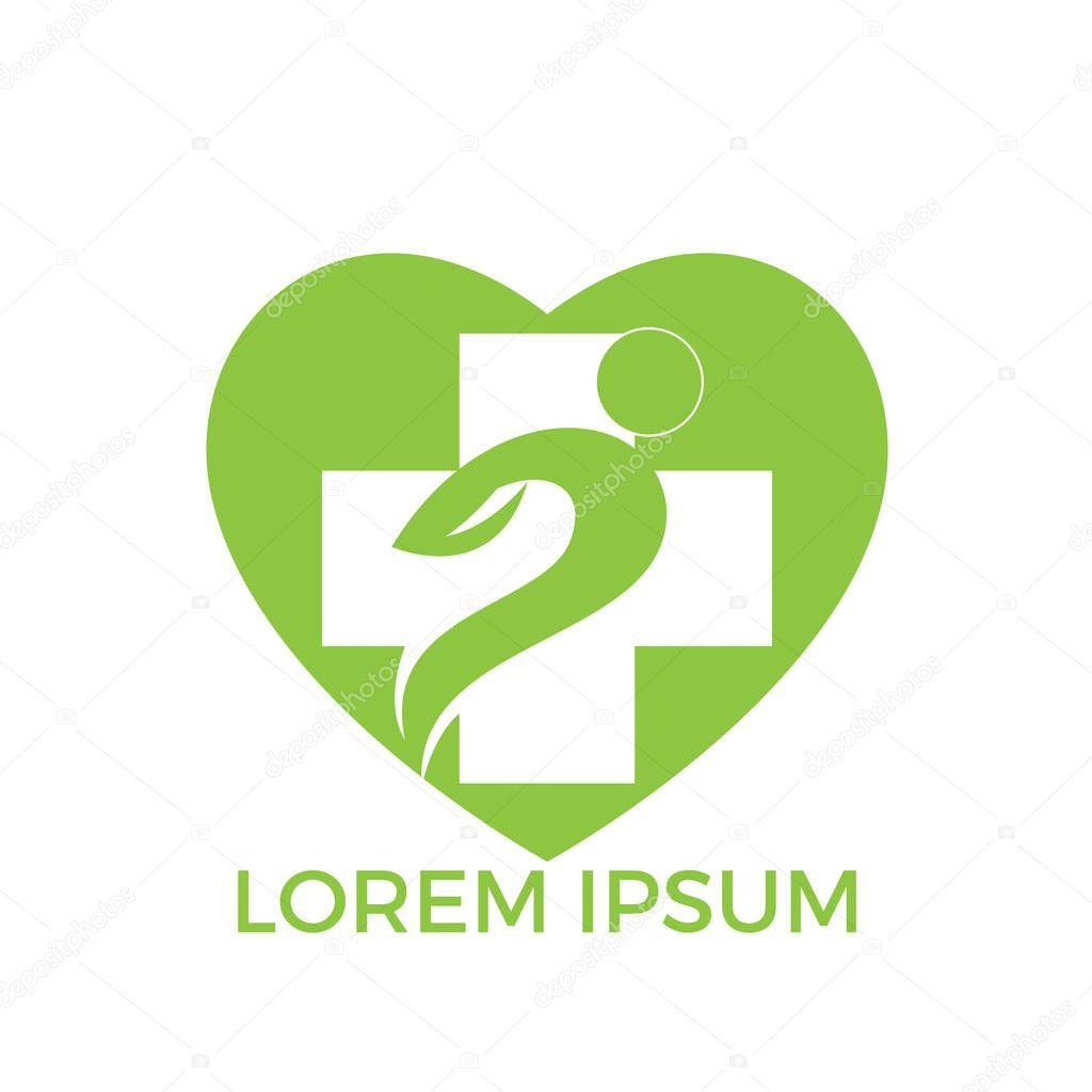 Medical cross heart shape logo design. Illustration design of logotype cross health symbol.