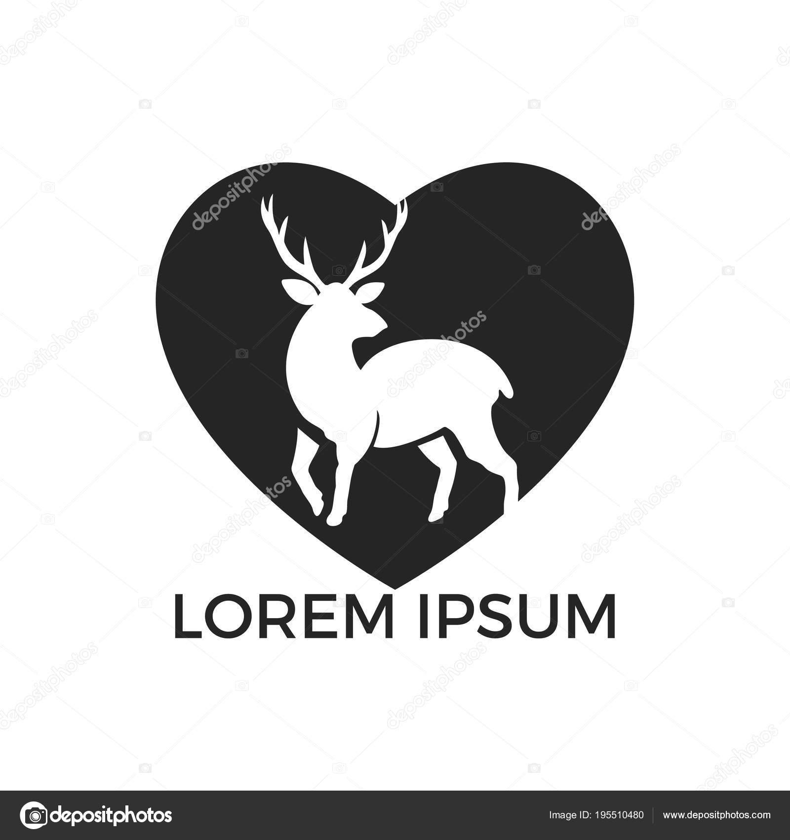 deer heart shape logo design creative deer elk vector logo stock rh depositphotos com Deer Head Logo Deer Head Logo