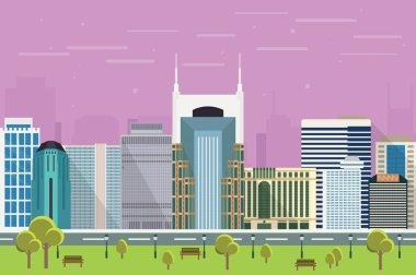 City skyscrapers of Nashville illustration