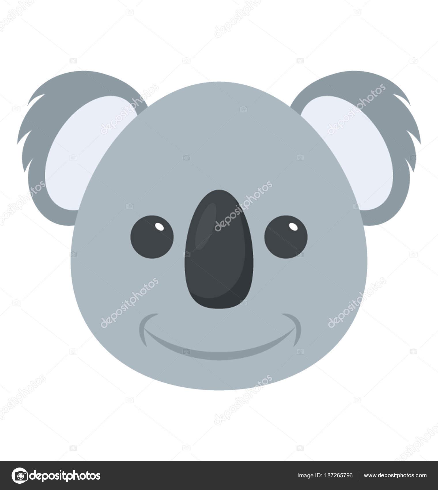 Koala Bebé Lindo Oso Dibujos Animados Animales Cara — Archivo ...