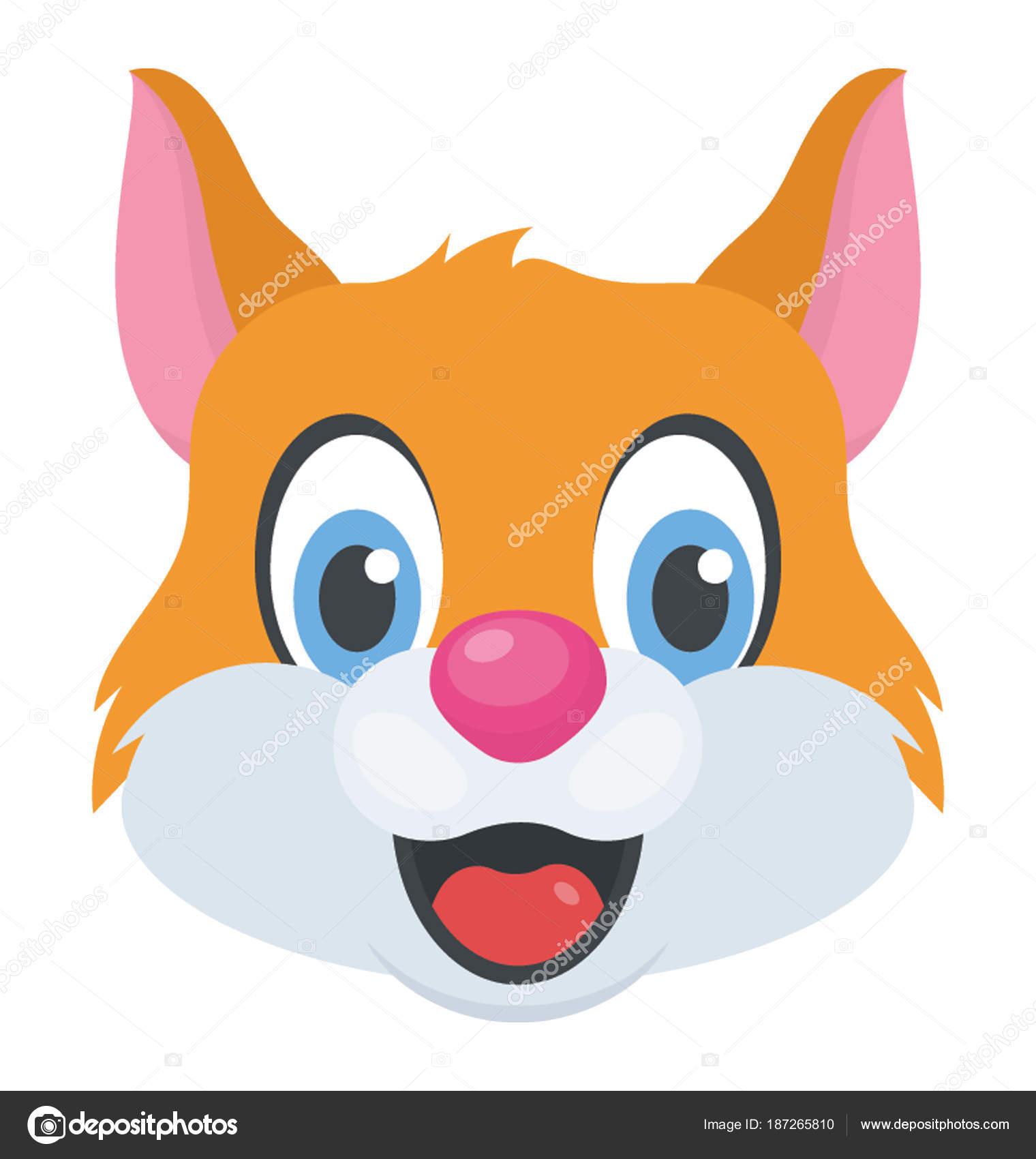 rosto gato bonito dos desenhos animados com feliz expressão