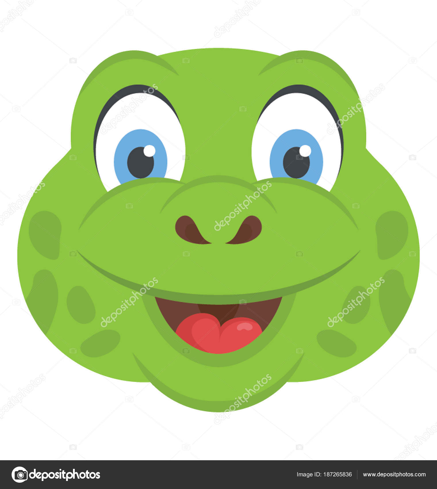 Cute Smiling Turtle Head Fully Opened Eyes Stock Vector