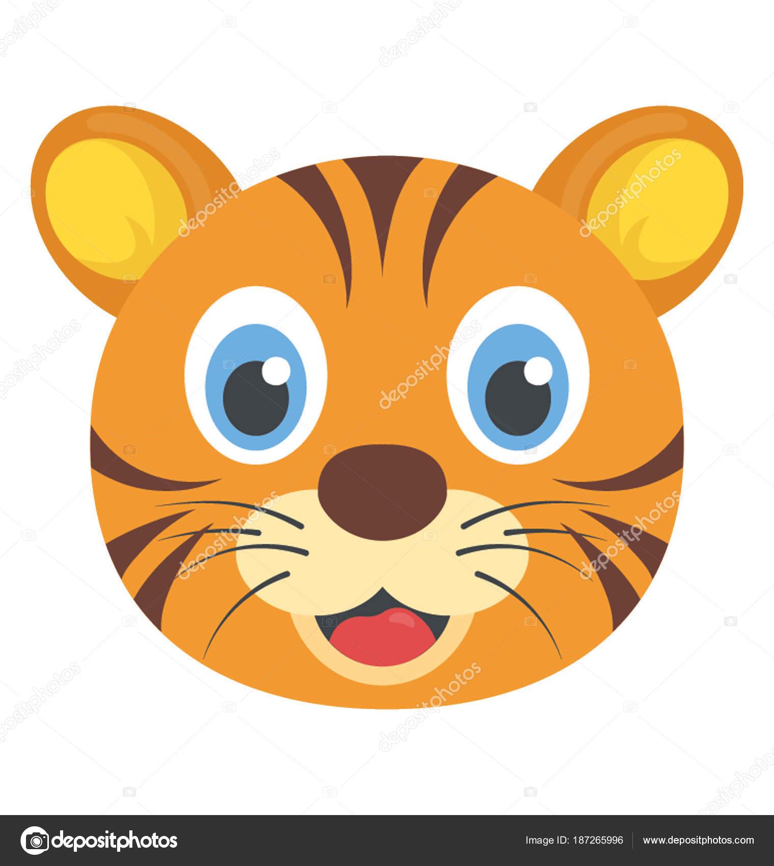 Faccia gatto selvatico simpatico cartone animato animale