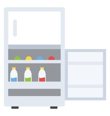 Flat icon design of a fridge