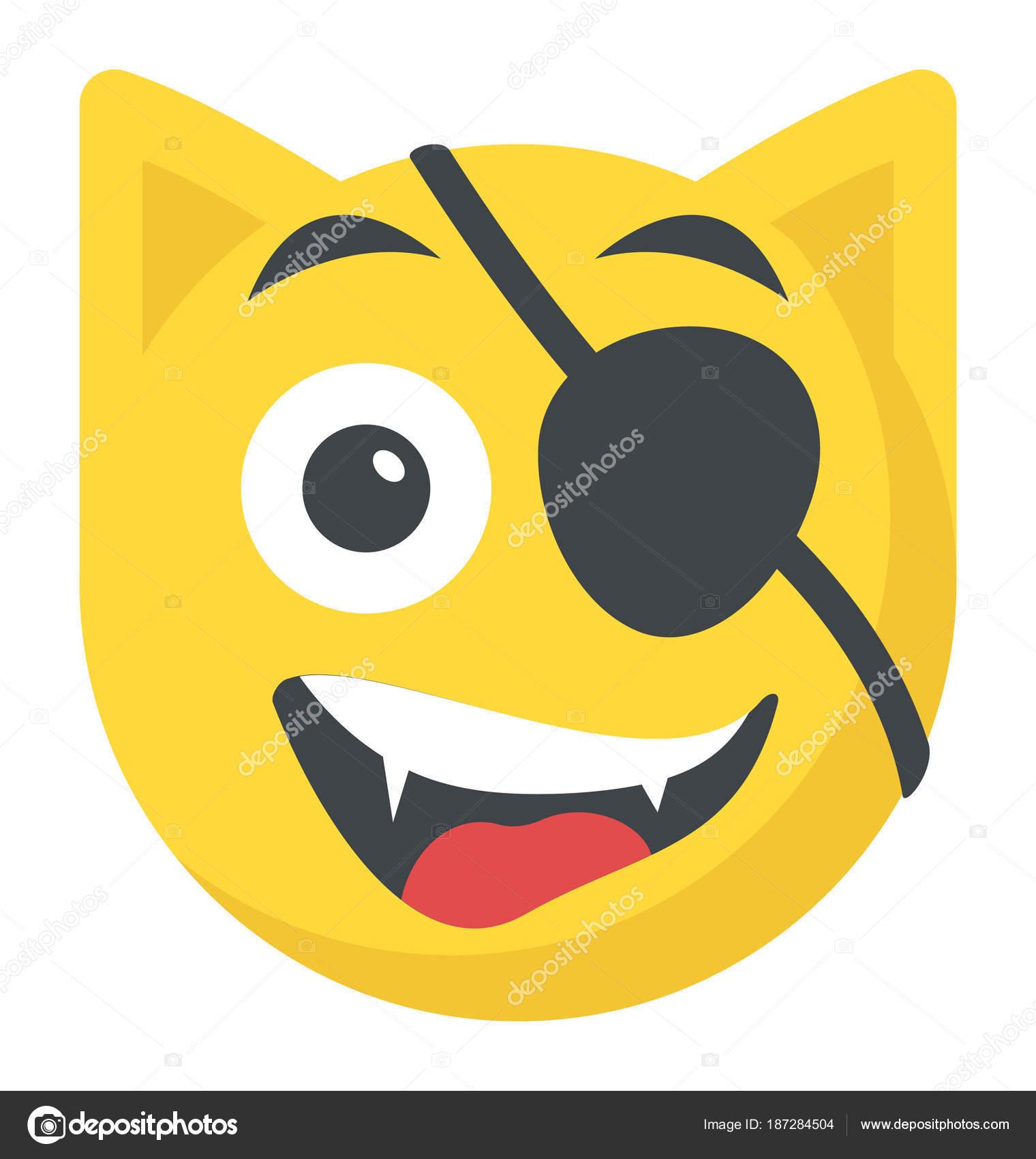 Diseño Plano Icono Emoji Pirata Con Parche Ojo — Vector de stock ...