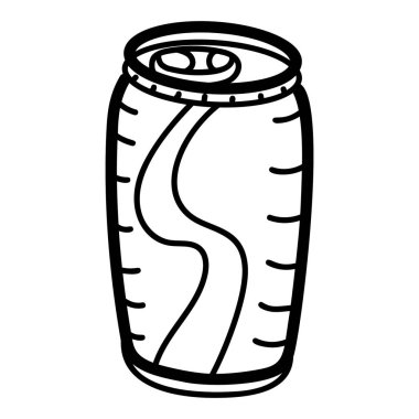 Tin pack icon, hand drawn vector of takeaway drink icon