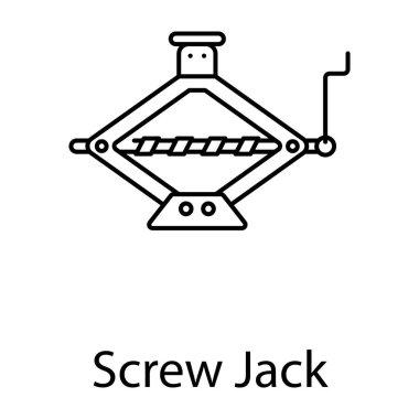 Car repairing tool, screw jack icon in line style stock vector