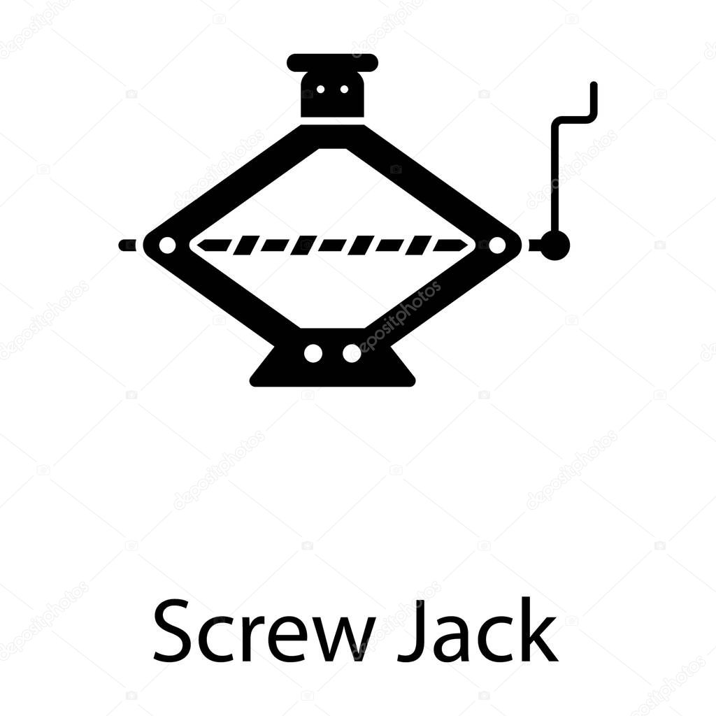 Car repairing tool, screw jack icon in filled style stock vector