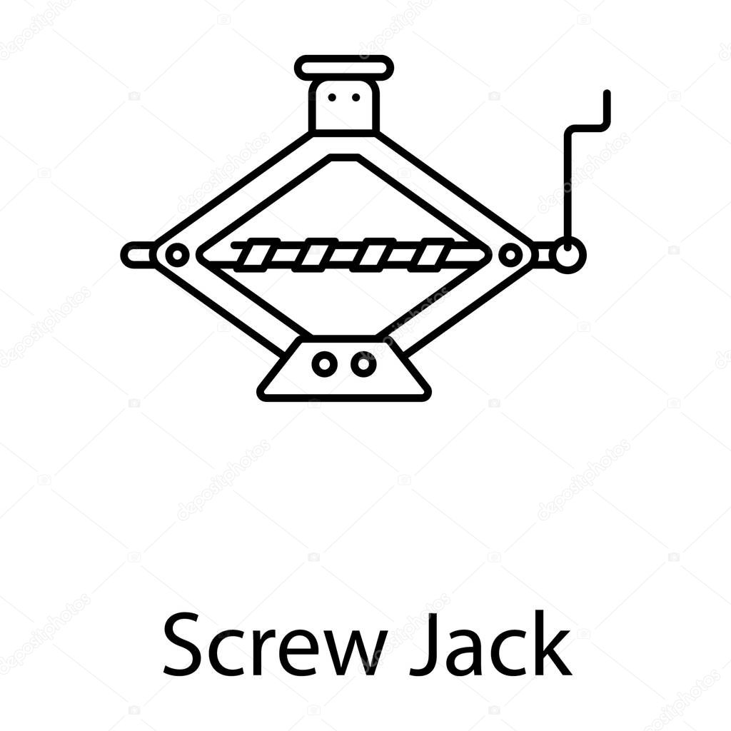 Car repairing tool, screw jack icon in line style stock vector