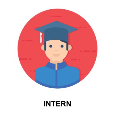 After education getting business experience, flat icon of intern vector design