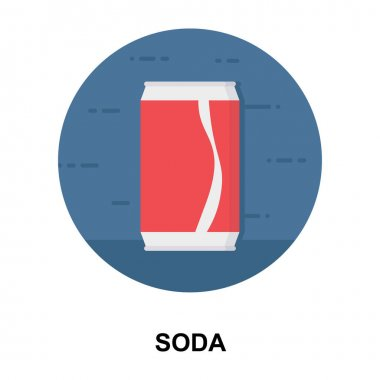 Soda tin pack icon in flat rounded vector design icon