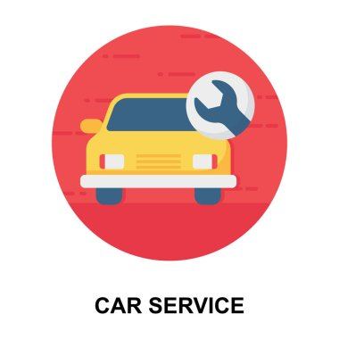 Automobile repairing service, icon of car service in flat rounded vector design stock vector