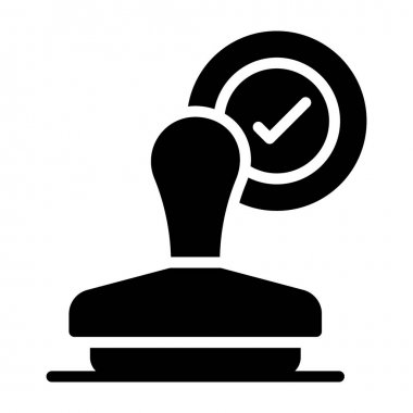 Icon of verified rubber stamp, approval concept