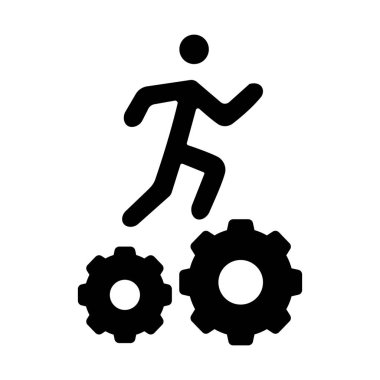 Man running on cogwheel showing the concept of manager