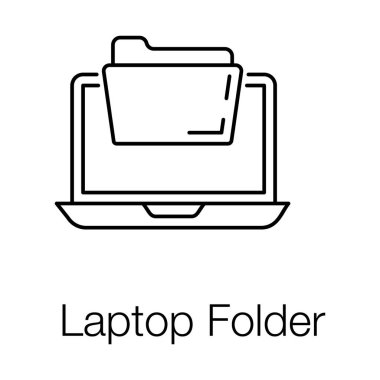 Document with macbook, laptop folder icon. icon