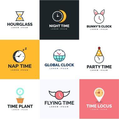 Timekeeping Flat Logo Vectors Pack