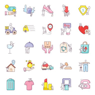Shopping Accessories Flat Icons Pack icon