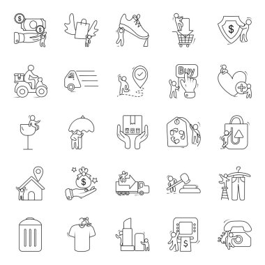 Shopping Accessories Line Icons Pack icon