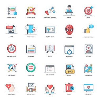 Digital Marketing Flat Icons Pack