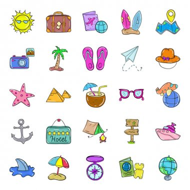 Explore travelling essentials, needs to be along all the way during the journey.Get this new travel and holiday icons pack with luggage, camera and beach concept. Adventure filled vectors are perfect for any kind of design and graphic projects. icon