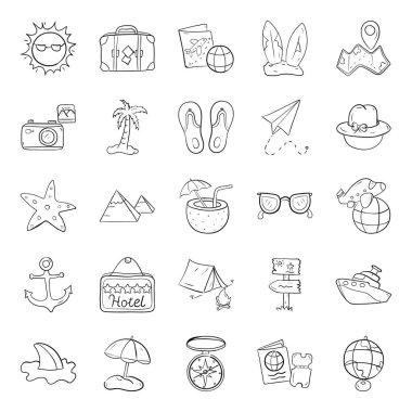 Explore travelling essentials, needs to be along all the way during the journey.Get this new travel and holiday icons pack with luggage, camera and beach concept. Adventure filled vectors is perfect for any kind of tourism and graphic projects. icon