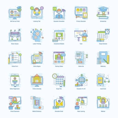 Educational technology flat icons pack, you will find more variety of editable vectors that are helpful for your upcoming projects. Grab this pack now! icon