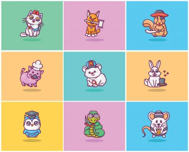 A pack of flat icons is encompassing cute animal avatars having various avatars like doctor, lawyer, spay and so on. A small compact id going to boost your design. Must have this in your cart! icon