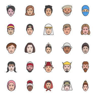 An amazing pack of cultural avatars faces, this flat icons pack is facilitating you with its editable style. Hold it for never ending effect on your esthetics. icon